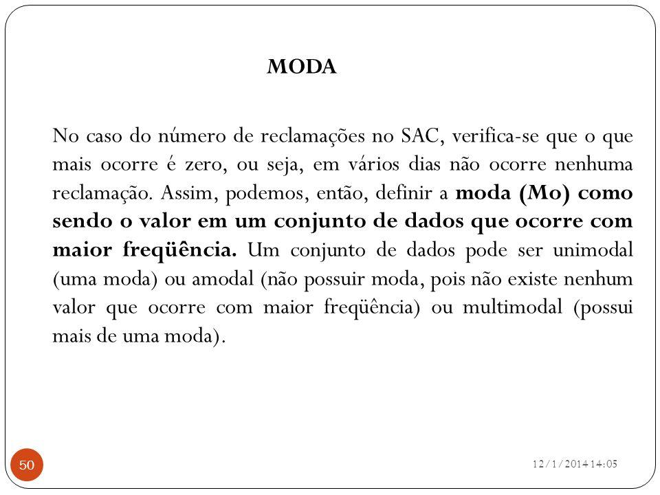 12/1/2014 14:07 50 MODA No caso do número de reclamações no SAC, verifica-se que o que mais ocorre é zero, ou seja, em vários dias não ocorre nenhuma