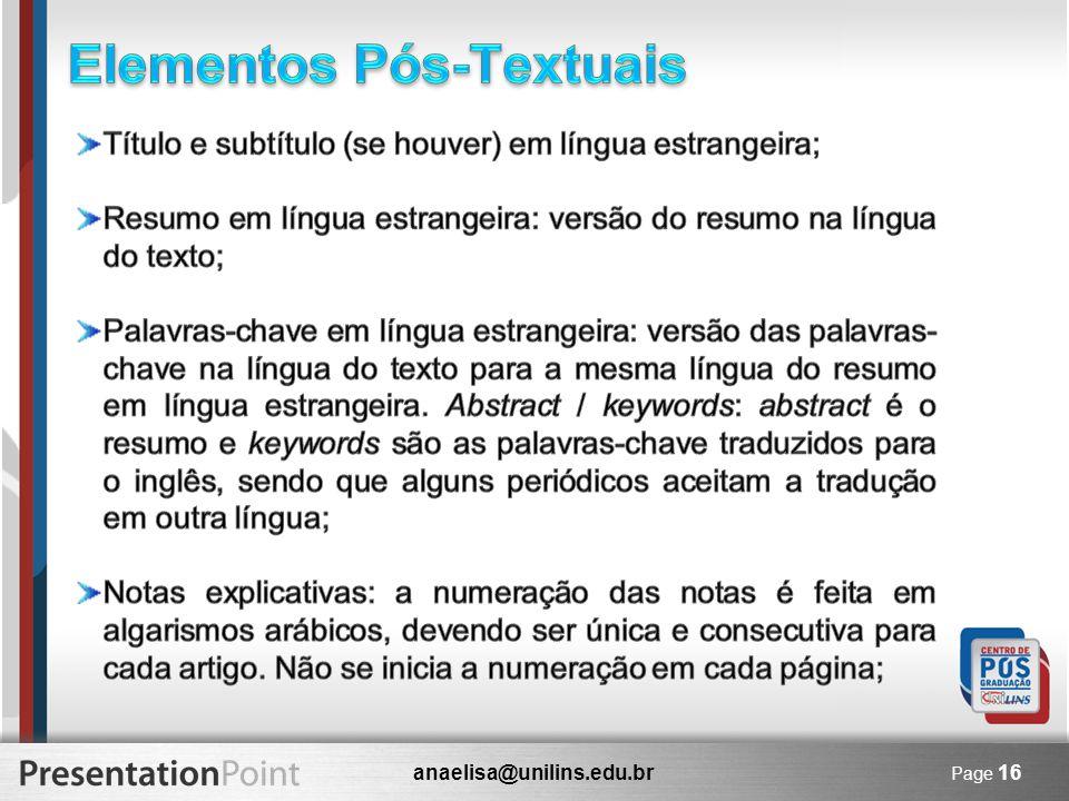 anaelisa@unilins.edu.br Page 16