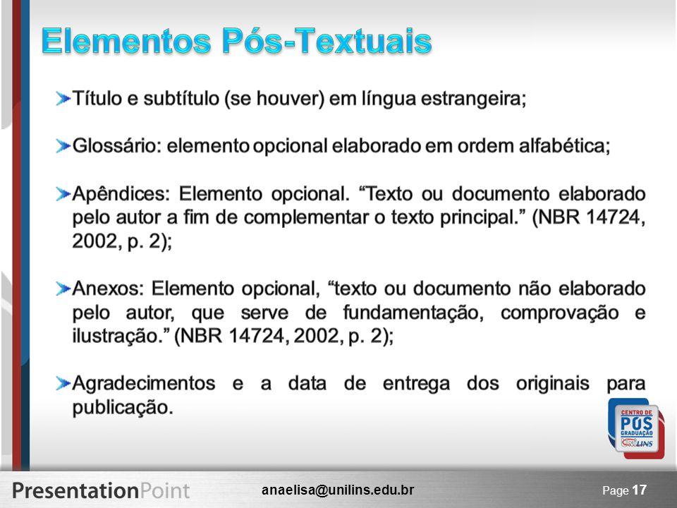 anaelisa@unilins.edu.br Page 17