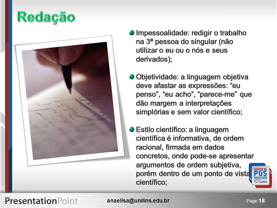 anaelisa@unilins.edu.br Page 18