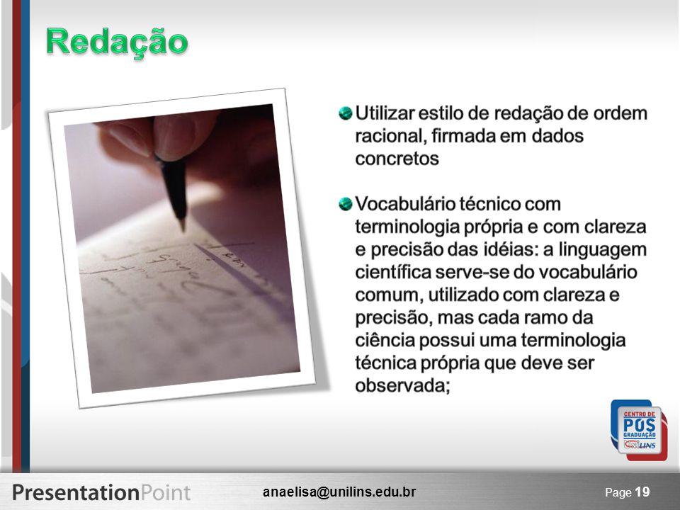 anaelisa@unilins.edu.br Page 19