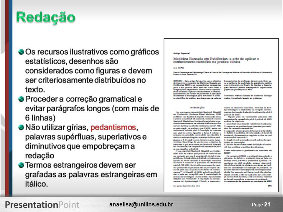 anaelisa@unilins.edu.br Page 21