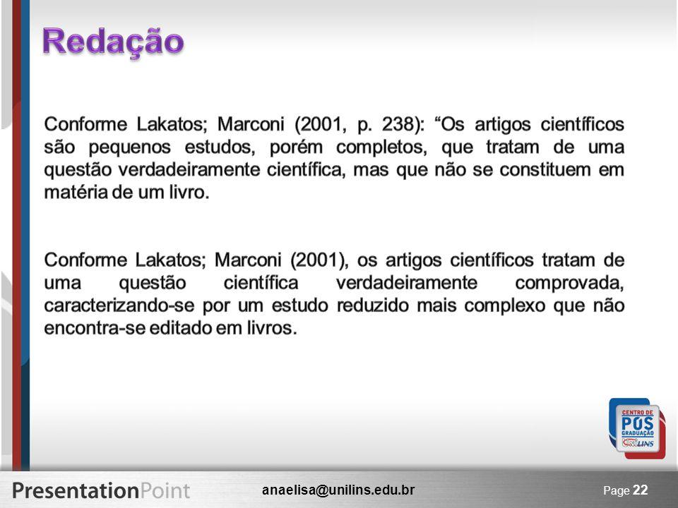 anaelisa@unilins.edu.br Page 22