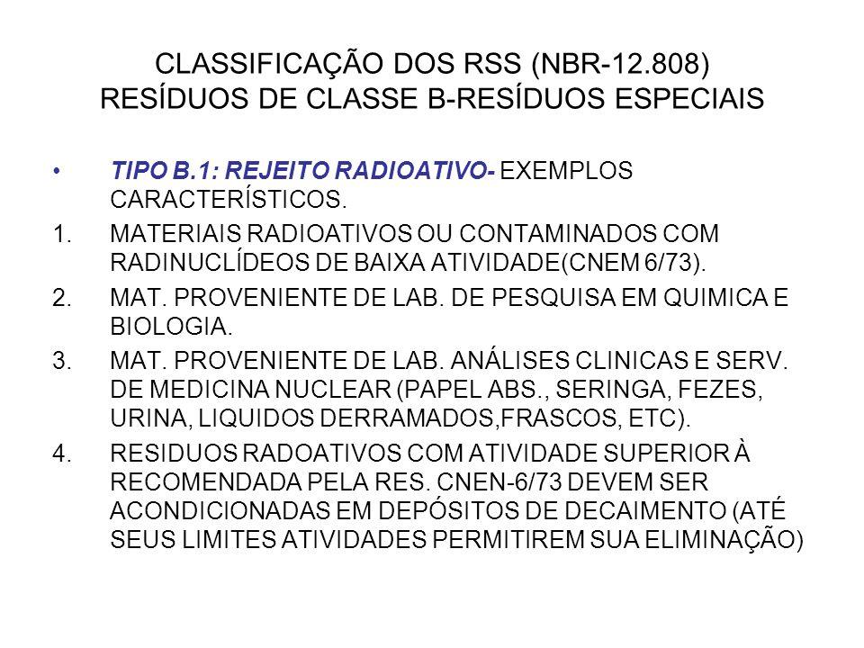 CLASSIFICAÇÃO DOS RSS (NBR-12.808) RESÍDUOS DE CLASSE B-RESÍDUOS ESPECIAIS TIPO B.1: REJEITO RADIOATIVO- EXEMPLOS CARACTERÍSTICOS. 1.MATERIAIS RADIOAT