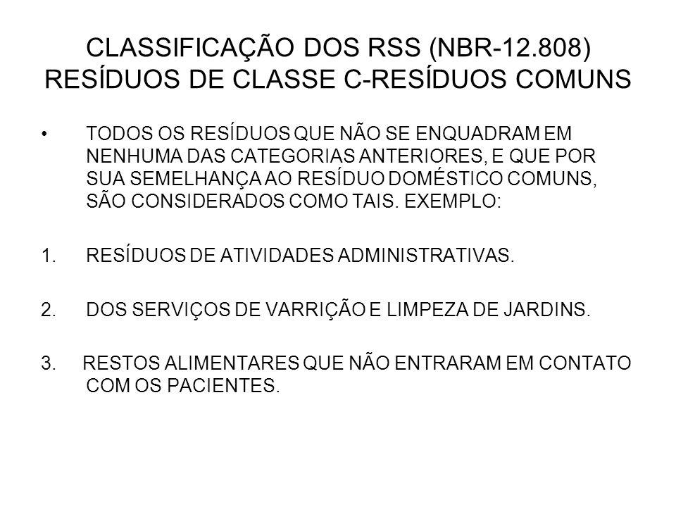 CLASSIFICAÇÃO DOS RSS (NBR-12.808) RESÍDUOS DE CLASSE C-RESÍDUOS COMUNS TODOS OS RESÍDUOS QUE NÃO SE ENQUADRAM EM NENHUMA DAS CATEGORIAS ANTERIORES, E
