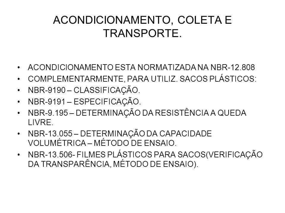 ACONDICIONAMENTO, COLETA E TRANSPORTE. ACONDICIONAMENTO ESTA NORMATIZADA NA NBR-12.808 COMPLEMENTARMENTE, PARA UTILIZ. SACOS PLÁSTICOS: NBR-9190 – CLA