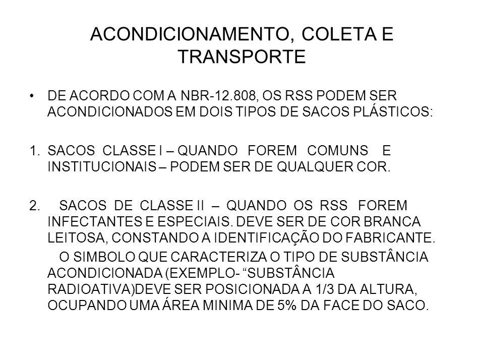 ACONDICIONAMENTO, COLETA E TRANSPORTE DE ACORDO COM A NBR-12.808, OS RSS PODEM SER ACONDICIONADOS EM DOIS TIPOS DE SACOS PLÁSTICOS: 1.SACOS CLASSE I –