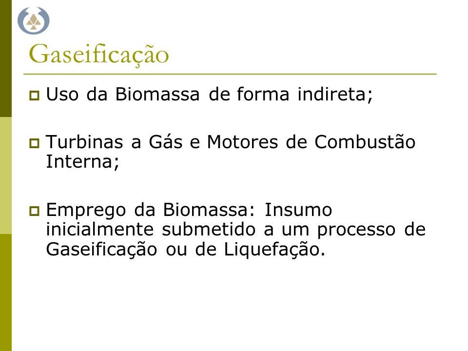 Gaseificação Uso da Biomassa de forma indireta; Turbinas a Gás e Motores de Combustão Interna; Emprego da Biomassa: Insumo inicialmente submetido a um processo de Gaseificação ou de Liquefação.