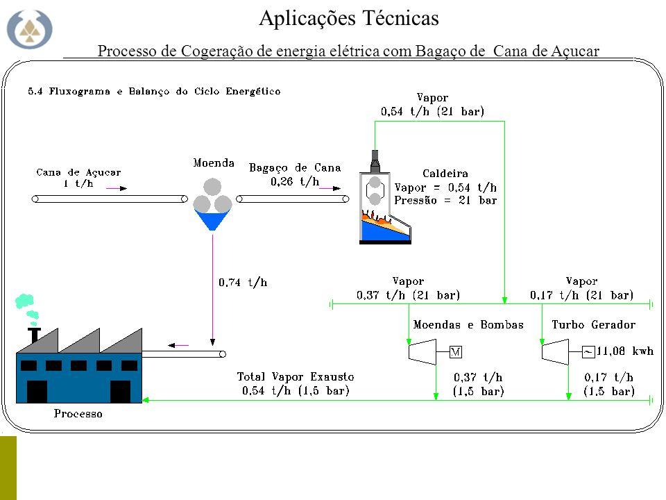 Aplicações Técnicas Processo de Cogeração de energia elétrica com Bagaço de Cana de Açucar