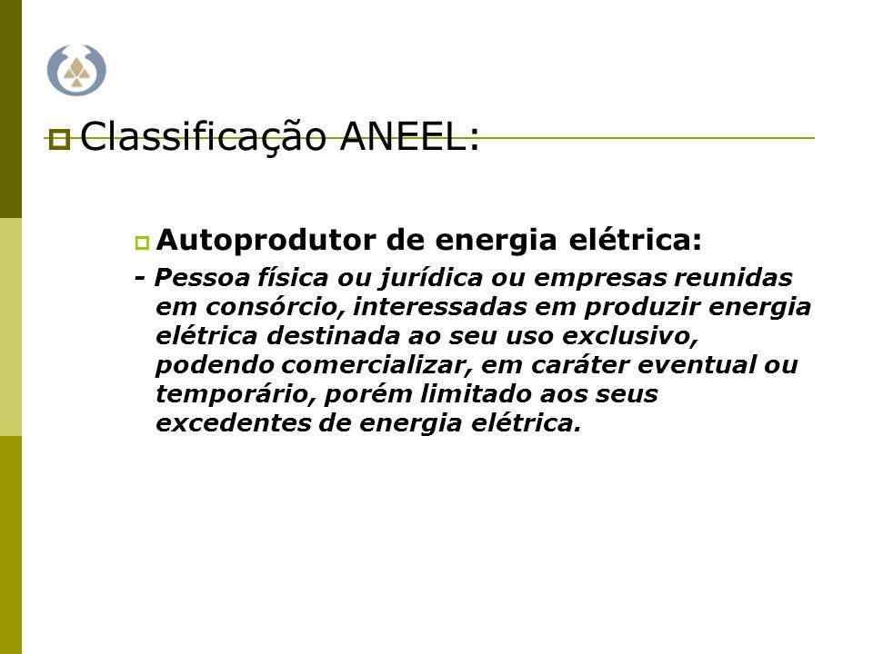 Classificação ANEEL: Produtor Independente: - Pessoa jurídica ou empresas reunidas em consórcio, interessadas em produzir e comercializar energia elétrica em caráter permanente e ilimitado.