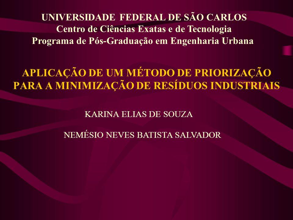 APLICAÇÃO DE UM MÉTODO DE PRIORIZAÇÃO PARA A MINIMIZAÇÃO DE RESÍDUOS INDUSTRIAIS KARINA ELIAS DE SOUZA NEMÉSIO NEVES BATISTA SALVADOR UNIVERSIDADE FED