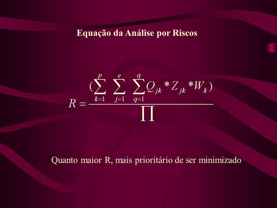 Equação da Análise por Riscos Quanto maior R, mais prioritário de ser minimizado