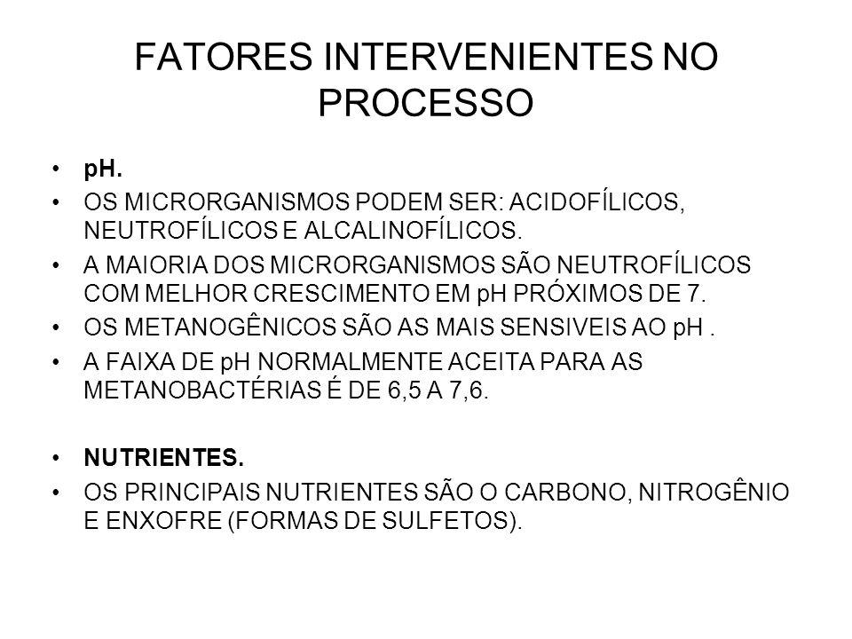 FATORES INTERVENIENTES NO PROCESSO pH.
