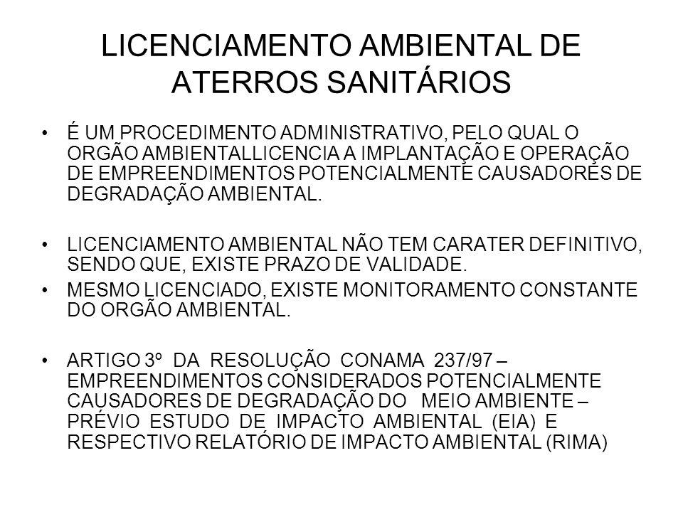 LICENCIAMENTO AMBIENTAL DE ATERROS SANITÁRIOS É UM PROCEDIMENTO ADMINISTRATIVO, PELO QUAL O ORGÃO AMBIENTALLICENCIA A IMPLANTAÇÃO E OPERAÇÃO DE EMPREENDIMENTOS POTENCIALMENTE CAUSADORES DE DEGRADAÇÃO AMBIENTAL.