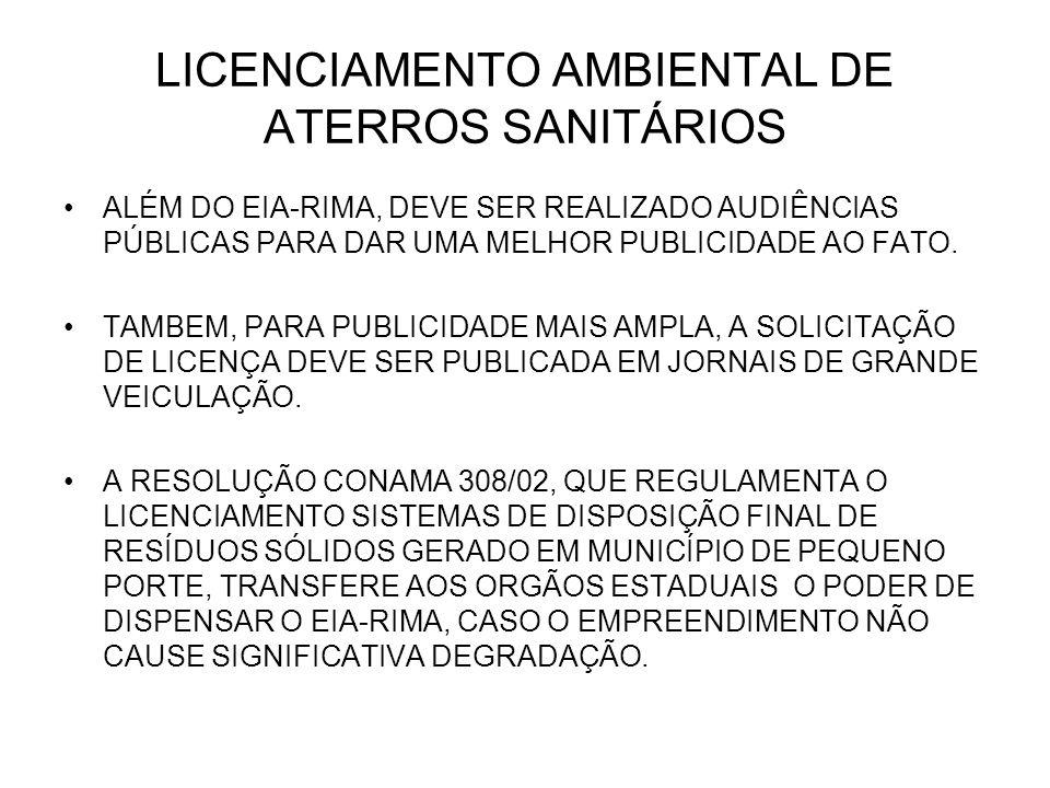 LICENCIAMENTO AMBIENTAL DE ATERROS SANITÁRIOS ALÉM DO EIA-RIMA, DEVE SER REALIZADO AUDIÊNCIAS PÚBLICAS PARA DAR UMA MELHOR PUBLICIDADE AO FATO. TAMBEM