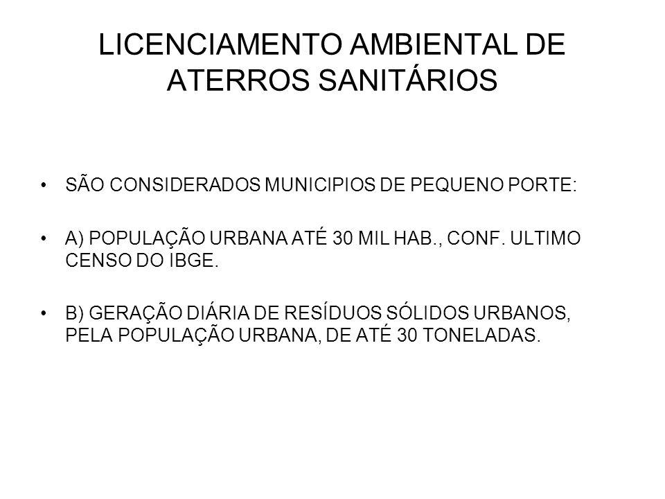 LICENCIAMENTO AMBIENTAL DE ATERROS SANITÁRIOS SÃO CONSIDERADOS MUNICIPIOS DE PEQUENO PORTE: A) POPULAÇÃO URBANA ATÉ 30 MIL HAB., CONF. ULTIMO CENSO DO