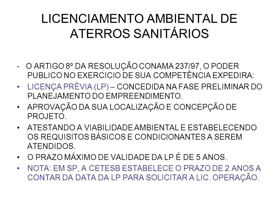 LICENCIAMENTO AMBIENTAL DE ATERROS SANITÁRIOS - O ARTIGO 8º DA RESOLUÇÃO CONAMA 237/97, O PODER PUBLICO NO EXERCICIO DE SUA COMPETÊNCIA EXPEDIRA: LICENÇA PRÉVIA (LP) – CONCEDIDA NA FASE PRELIMINAR DO PLANEJAMENTO DO EMPREENDIMENTO.