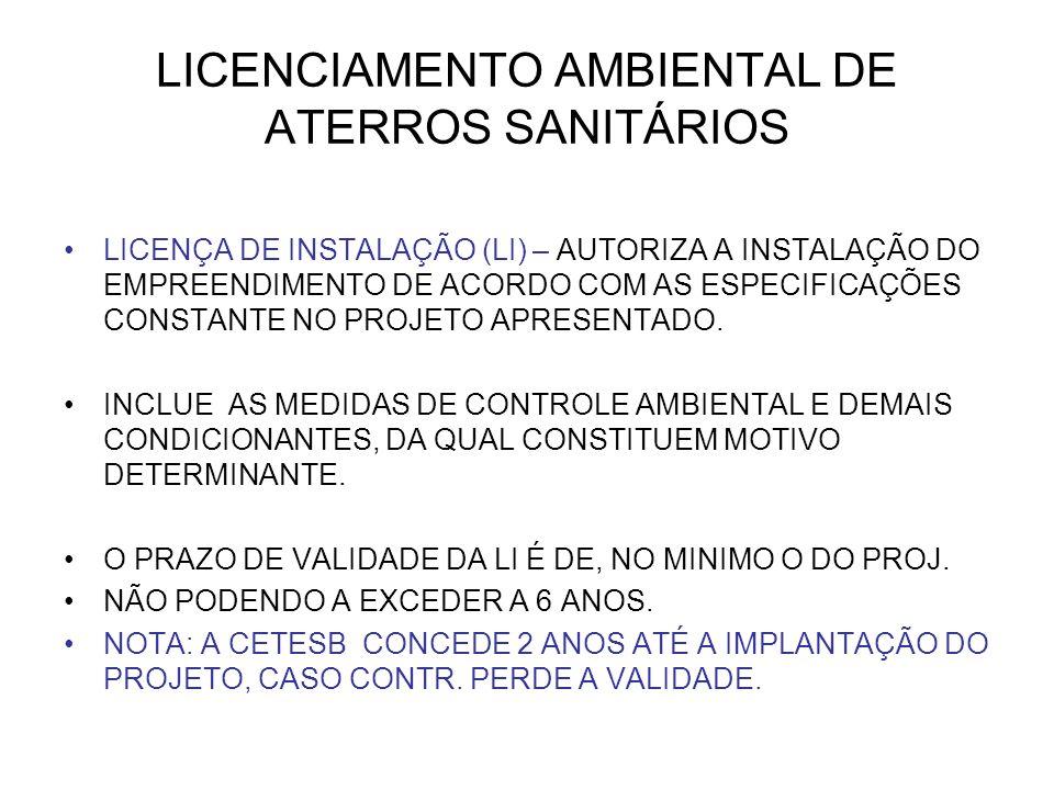LICENCIAMENTO AMBIENTAL DE ATERROS SANITÁRIOS LICENÇA DE INSTALAÇÃO (LI) – AUTORIZA A INSTALAÇÃO DO EMPREENDIMENTO DE ACORDO COM AS ESPECIFICAÇÕES CONSTANTE NO PROJETO APRESENTADO.