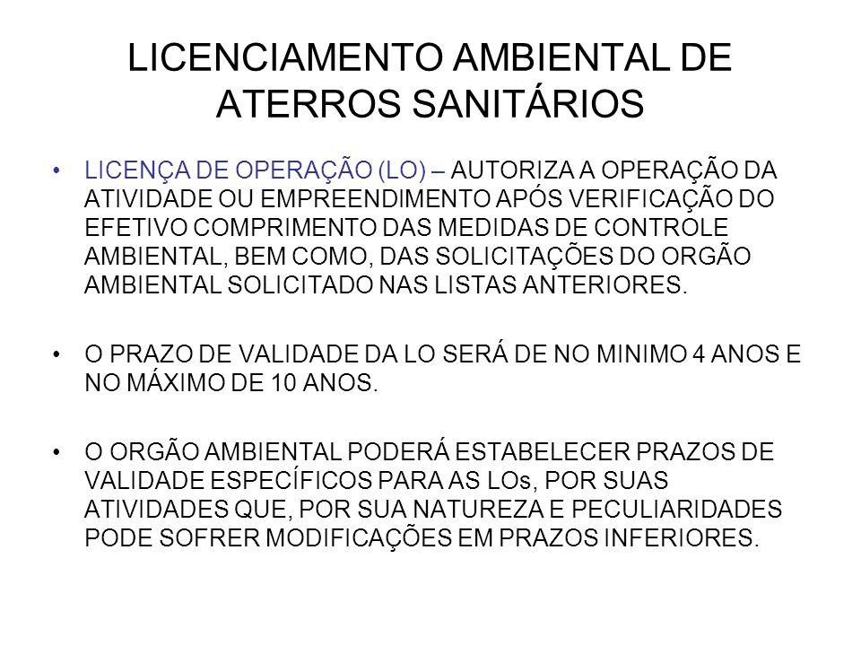 LICENCIAMENTO AMBIENTAL DE ATERROS SANITÁRIOS LICENÇA DE OPERAÇÃO (LO) – AUTORIZA A OPERAÇÃO DA ATIVIDADE OU EMPREENDIMENTO APÓS VERIFICAÇÃO DO EFETIVO COMPRIMENTO DAS MEDIDAS DE CONTROLE AMBIENTAL, BEM COMO, DAS SOLICITAÇÕES DO ORGÃO AMBIENTAL SOLICITADO NAS LISTAS ANTERIORES.