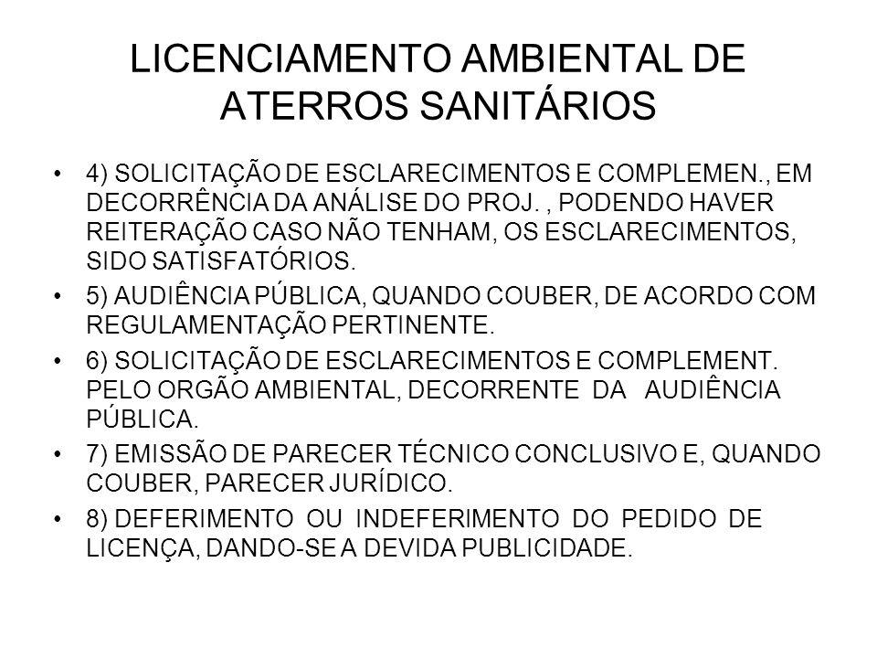 LICENCIAMENTO AMBIENTAL DE ATERROS SANITÁRIOS 4) SOLICITAÇÃO DE ESCLARECIMENTOS E COMPLEMEN., EM DECORRÊNCIA DA ANÁLISE DO PROJ., PODENDO HAVER REITERAÇÃO CASO NÃO TENHAM, OS ESCLARECIMENTOS, SIDO SATISFATÓRIOS.