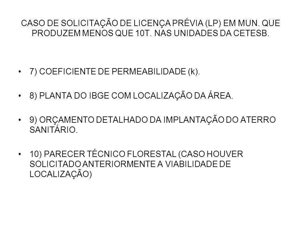CASO DE SOLICITAÇÃO DE LICENÇA PRÉVIA (LP) EM MUN. QUE PRODUZEM MENOS QUE 10T. NAS UNIDADES DA CETESB. 7) COEFICIENTE DE PERMEABILIDADE (k). 8) PLANTA
