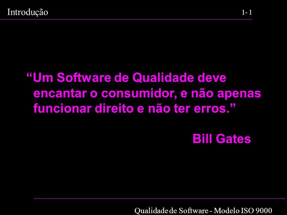 Qualidade de Software - Modelo ISO 9000 Introdução 1-1 Um Software de Qualidade deve encantar o consumidor, e não apenas funcionar direito e não ter e
