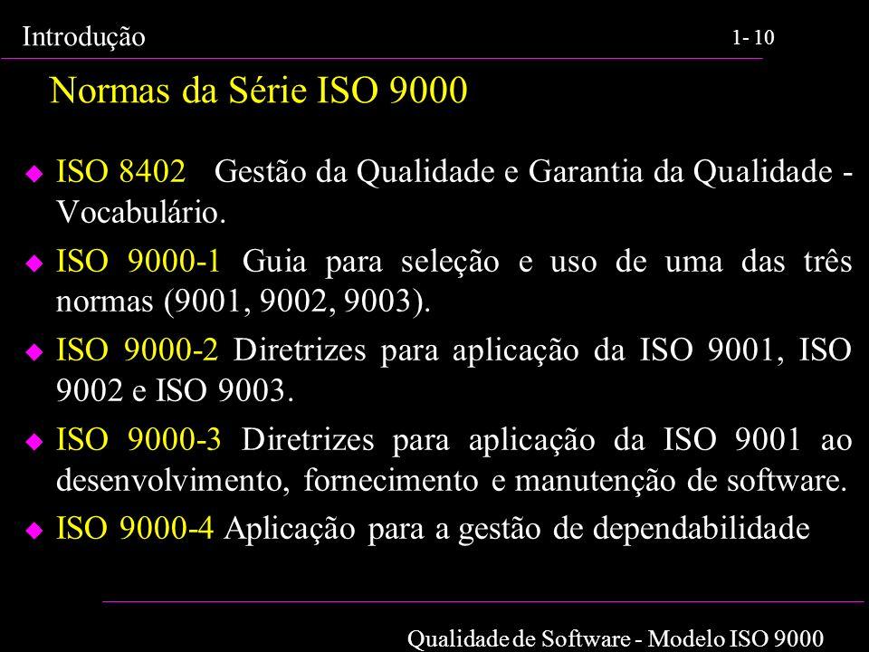 Qualidade de Software - Modelo ISO 9000 Introdução 1-10 Normas da Série ISO 9000 u ISO 8402 Gestão da Qualidade e Garantia da Qualidade - Vocabulário.