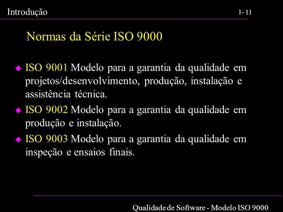 Qualidade de Software - Modelo ISO 9000 Introdução 1-11 Normas da Série ISO 9000 u ISO 9001 Modelo para a garantia da qualidade em projetos/desenvolvi