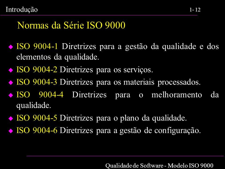 Qualidade de Software - Modelo ISO 9000 Introdução 1-12 Normas da Série ISO 9000 u ISO 9004-1 Diretrizes para a gestão da qualidade e dos elementos da