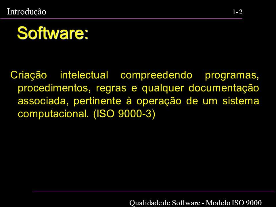 Qualidade de Software - Modelo ISO 9000 Introdução 1-2 Software: Criação intelectual compreedendo programas, procedimentos, regras e qualquer document