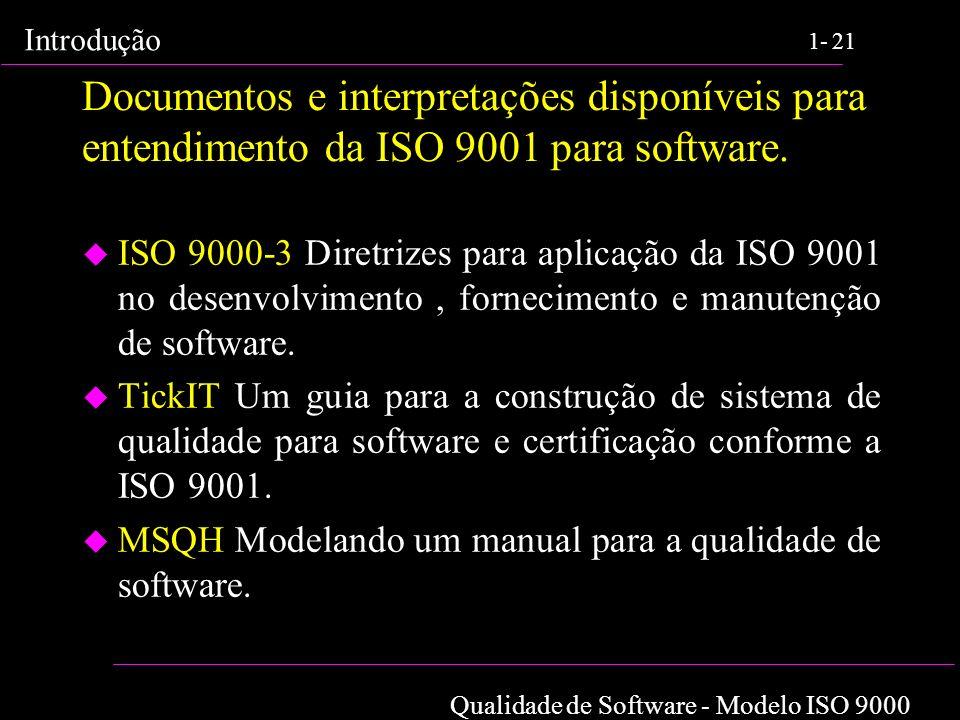 Qualidade de Software - Modelo ISO 9000 Introdução 1-21 Documentos e interpretações disponíveis para entendimento da ISO 9001 para software. u ISO 900