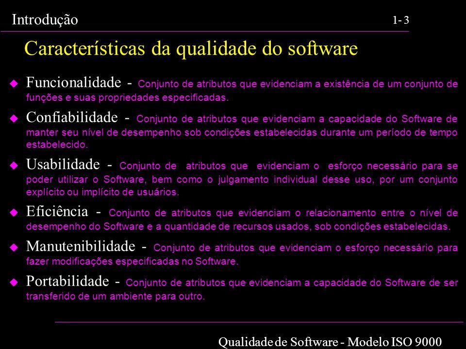Qualidade de Software - Modelo ISO 9000 Introdução 1-3 Características da qualidade do software Funcionalidade - Conjunto de atributos que evidenciam