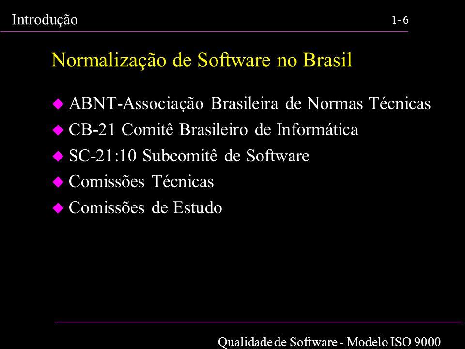 Qualidade de Software - Modelo ISO 9000 Introdução 1-6 Normalização de Software no Brasil u ABNT-Associação Brasileira de Normas Técnicas u CB-21 Comi
