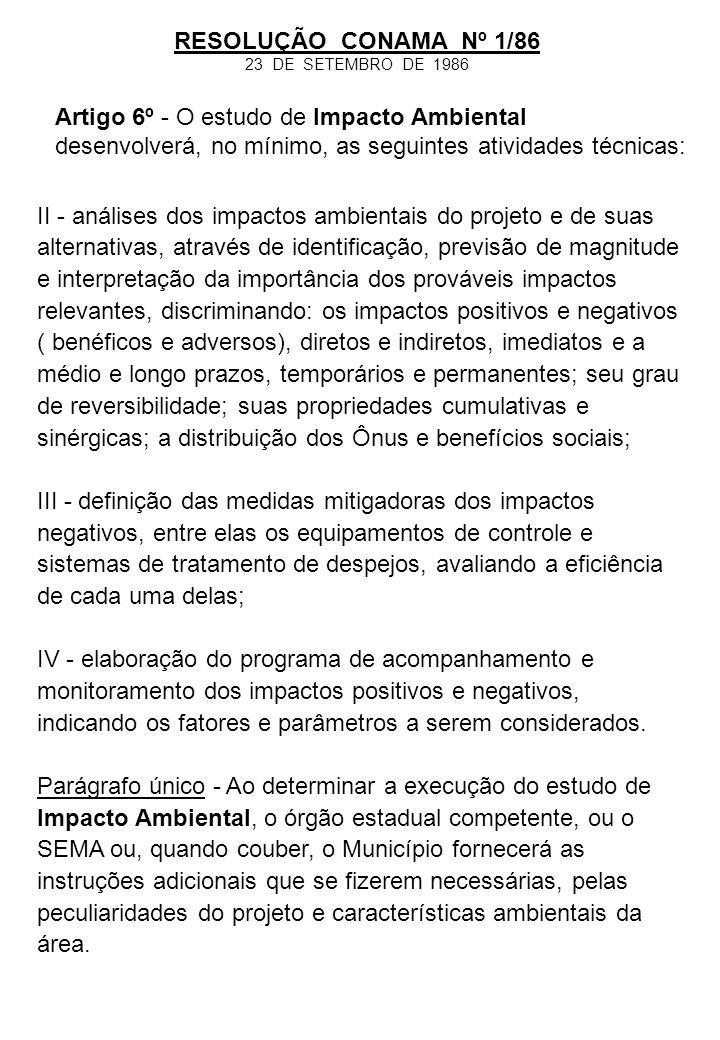 II - análises dos impactos ambientais do projeto e de suas alternativas, através de identificação, previsão de magnitude e interpretação da importânci