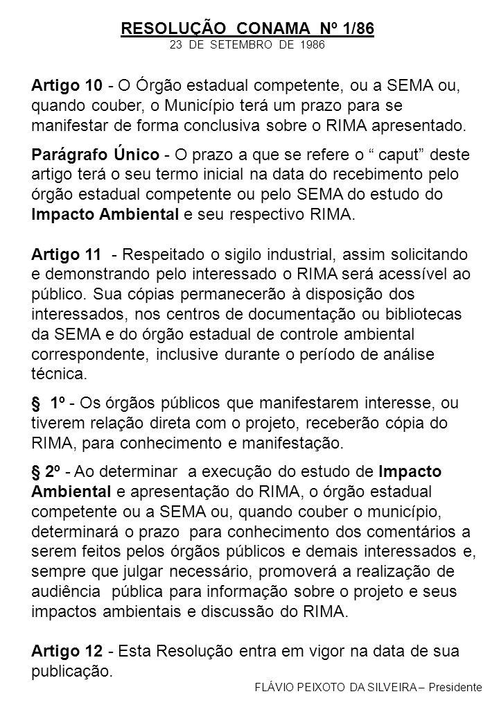 Artigo 10 - O Órgão estadual competente, ou a SEMA ou, quando couber, o Município terá um prazo para se manifestar de forma conclusiva sobre o RIMA ap