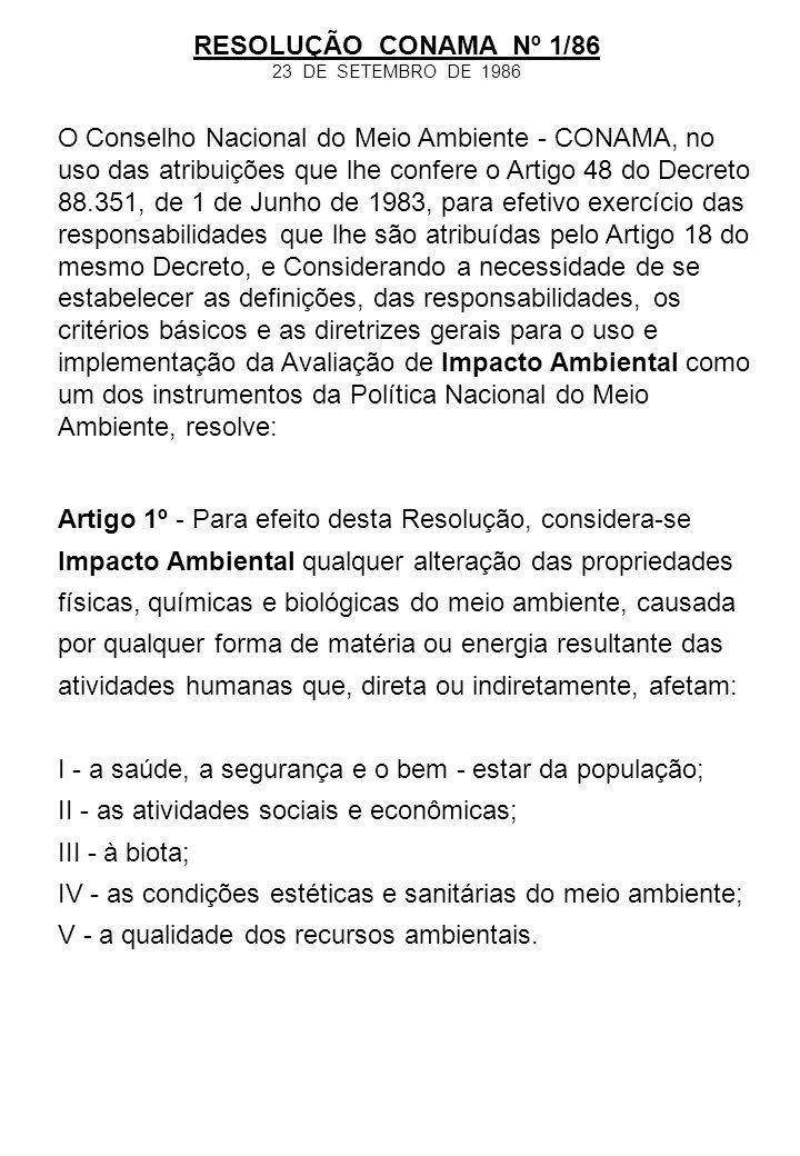 I - estradas de rodagem com 2 ( duas) ou mais faixas de rolamento; II - ferrovias; III - portos e terminais de minério, petróleo e produtos químicos; IV - aeroportos conforme definidos pelo inciso I, artigo 48, do Decreto-Lei 32, de 18 de novembro de 1966; V - oleodutos, gasodutos, minerodutos, troncos coletores e emissários de esgotos sanitários; VI - linhas de transmissão de energia elétrica, acima de 230 KV; VII - obras hidráulicas para exploração de recursos hídricos, tais como: barragem para quaisquer fins hidrelétricos, acima de 10 MW, de saneamento ou de irrigação, abertura de canais para navegação, drenagem e irrigação, retificação de cursos d àgua, abertura de barras e embocaduras, transposição de bacias, diques; VIII - extração de combustível fóssil ( petróleo, xisto, carvão); IX - extração de minério, inclusive os da classe II, definidas no Código de Mineração; X - aterros sanitários, processamento e destino final de resíduos tóxicos ou perigosos; XI - usinas de geração de eletricidade, qualquer que seja a fonte de energia primária, acima de 10MW; RESOLUÇÃO CONAMA Nº 1/86 23 DE SETEMBRO DE 1986 Artigo 2º - Dependerá de elaboração de Estado de Impacto Ambiental e respectivo Relatório de Impacto Ambiental - RIMA, a serem submetidos à aprovação do órgão estadual competente, e da SEMA em caráter supletivo, o licenciamento de atividades modificadoras do meio ambiente, tais como: