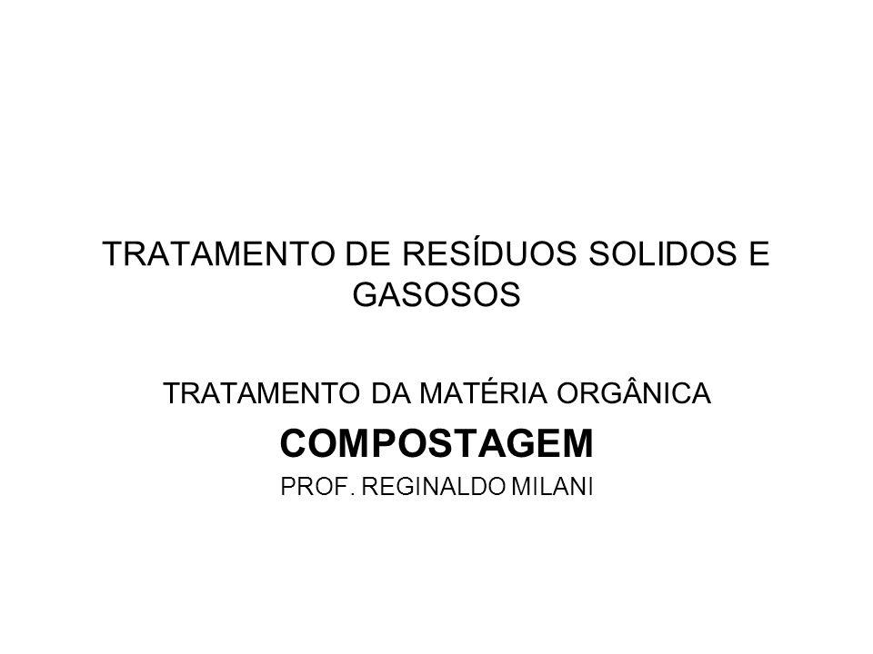 TRATAMENTO DE RESÍDUOS SOLIDOS E GASOSOS TRATAMENTO DA MATÉRIA ORGÂNICA COMPOSTAGEM PROF. REGINALDO MILANI