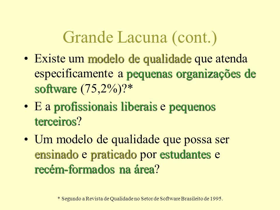* Segundo a Revista de Qualidade no Setor de Software Brasileito de 1995. Grande Lacuna (cont.) modelo de qualidade pequenas organizações de softwareE