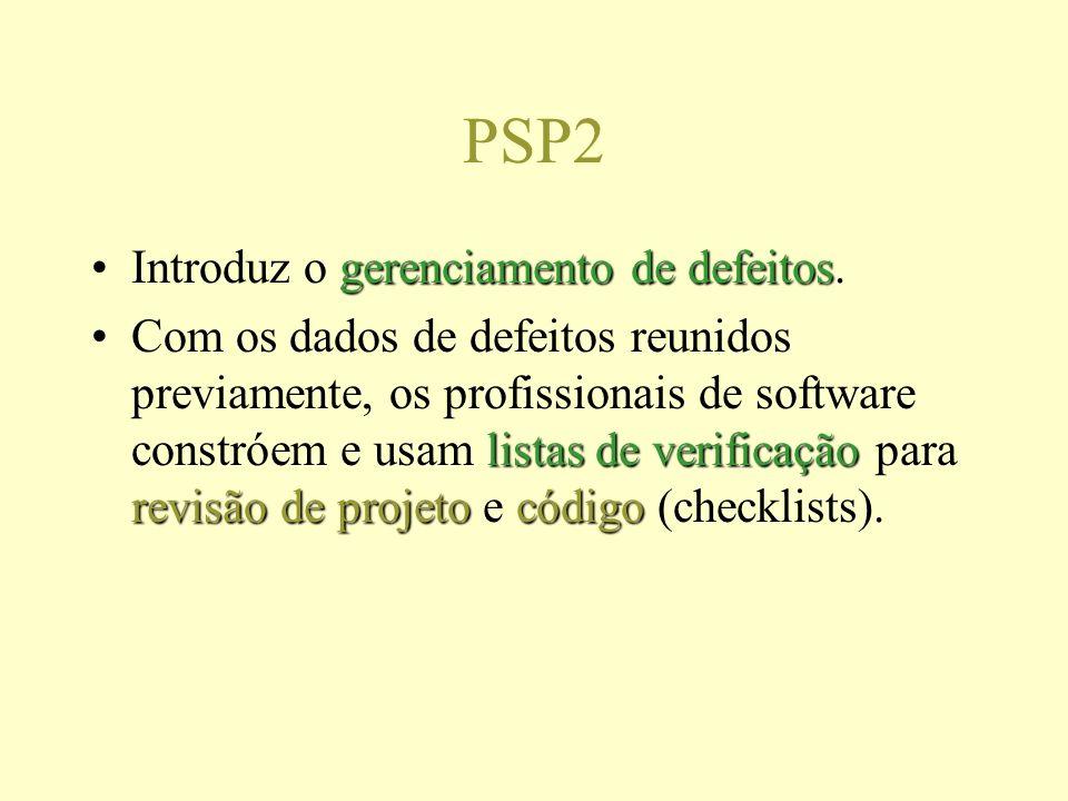PSP2 gerenciamento de defeitosIntroduz o gerenciamento de defeitos. listas de verificação revisão de projetocódigoCom os dados de defeitos reunidos pr