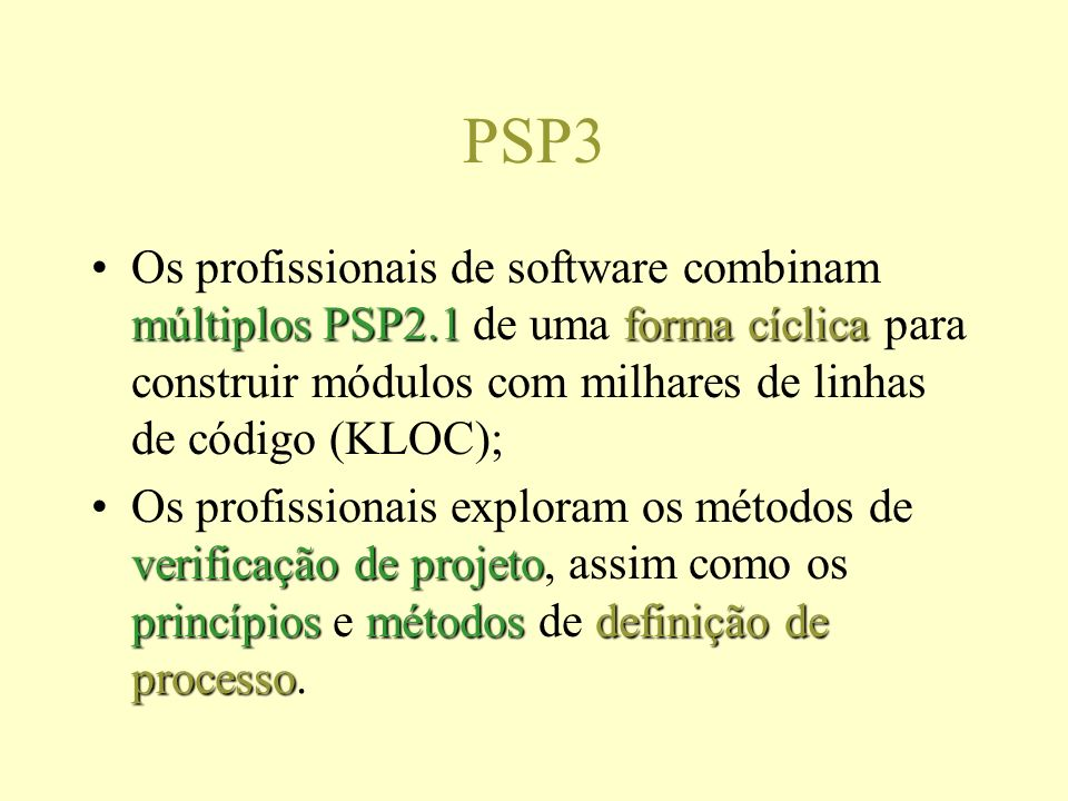 PSP3 múltiplos PSP2.1forma cíclicaOs profissionais de software combinam múltiplos PSP2.1 de uma forma cíclica para construir módulos com milhares de linhas de código (KLOC); verificação de projeto princípiosmétodosdefinição de processoOs profissionais exploram os métodos de verificação de projeto, assim como os princípios e métodos de definição de processo.