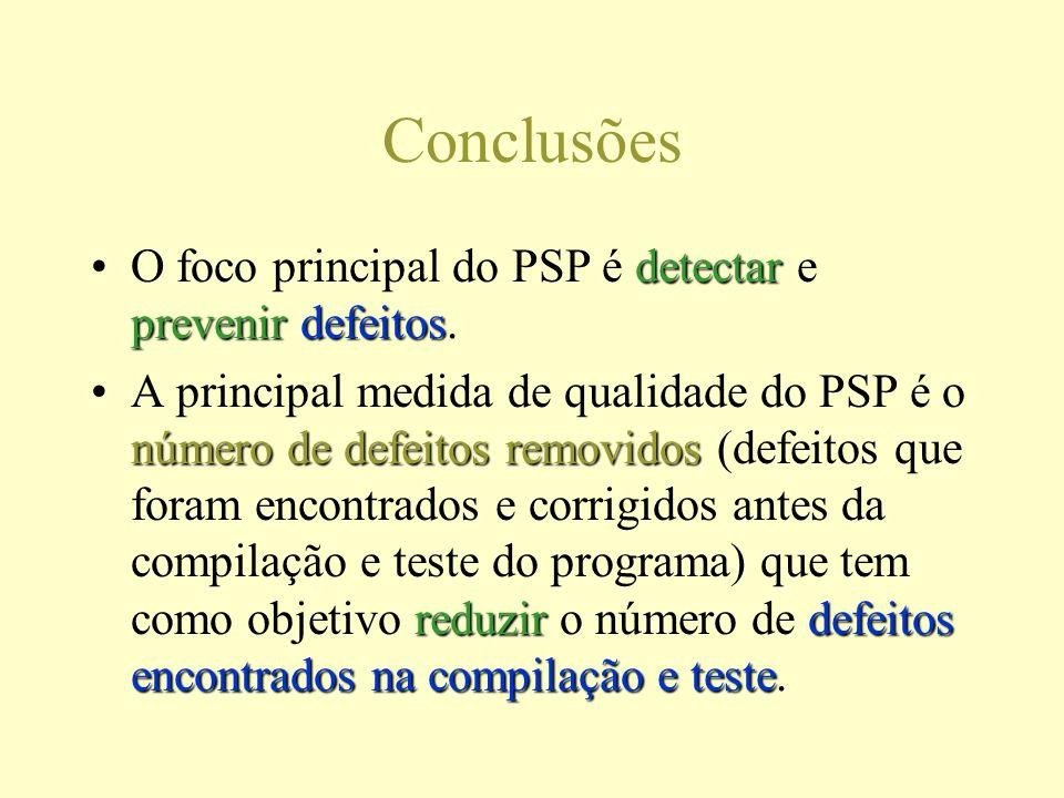 Conclusões detectar prevenirdefeitosO foco principal do PSP é detectar e prevenir defeitos.