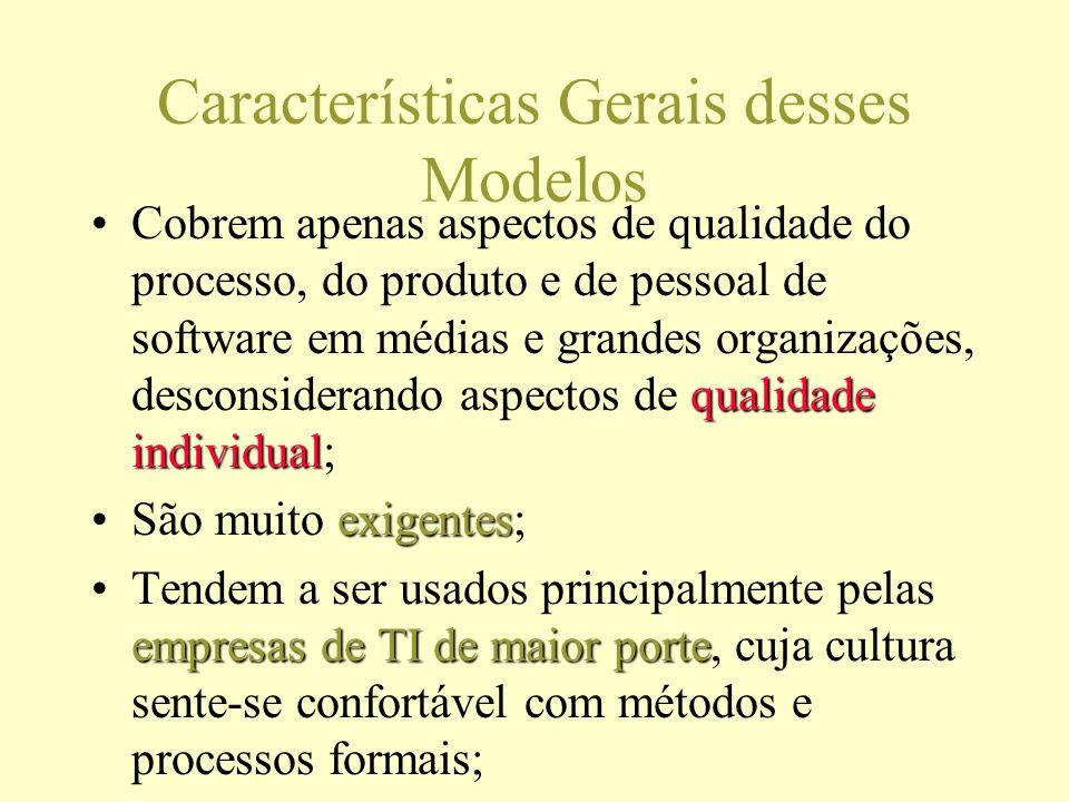Características Gerais desses Modelos qualidade individualCobrem apenas aspectos de qualidade do processo, do produto e de pessoal de software em médi
