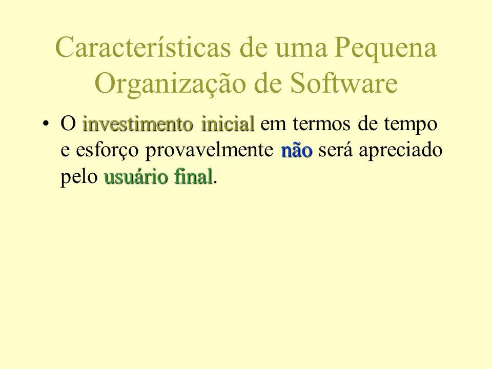 Características de uma Pequena Organização de Software investimento inicial não usuário finalO investimento inicial em termos de tempo e esforço provavelmente não será apreciado pelo usuário final.