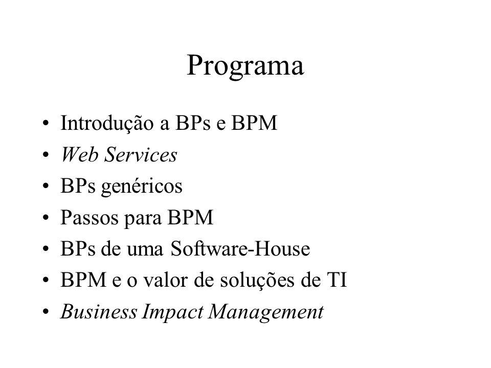BPM com BPs genéricos BPs com ou sem WS Sucesso da empresa –Definido pelo alcance da visão / missão –Medido pelo valor trazido aos stakeholders Clientes, funcionários, investidores, sócios –BPM para oferecer maior valor