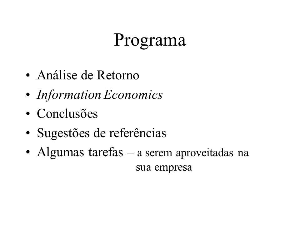 Programa Análise de Retorno Information Economics Conclusões Sugestões de referências Algumas tarefas – a serem aproveitadas na sua empresa