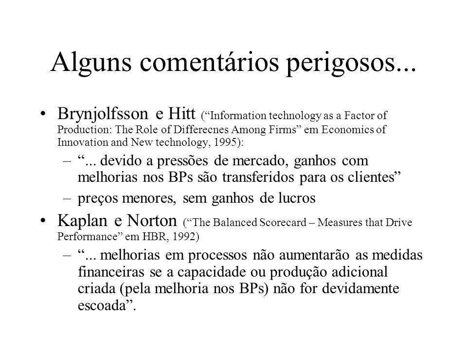 Alguns comentários perigosos... Brynjolfsson e Hitt (Information technology as a Factor of Production: The Role of Differecnes Among Firms em Economic