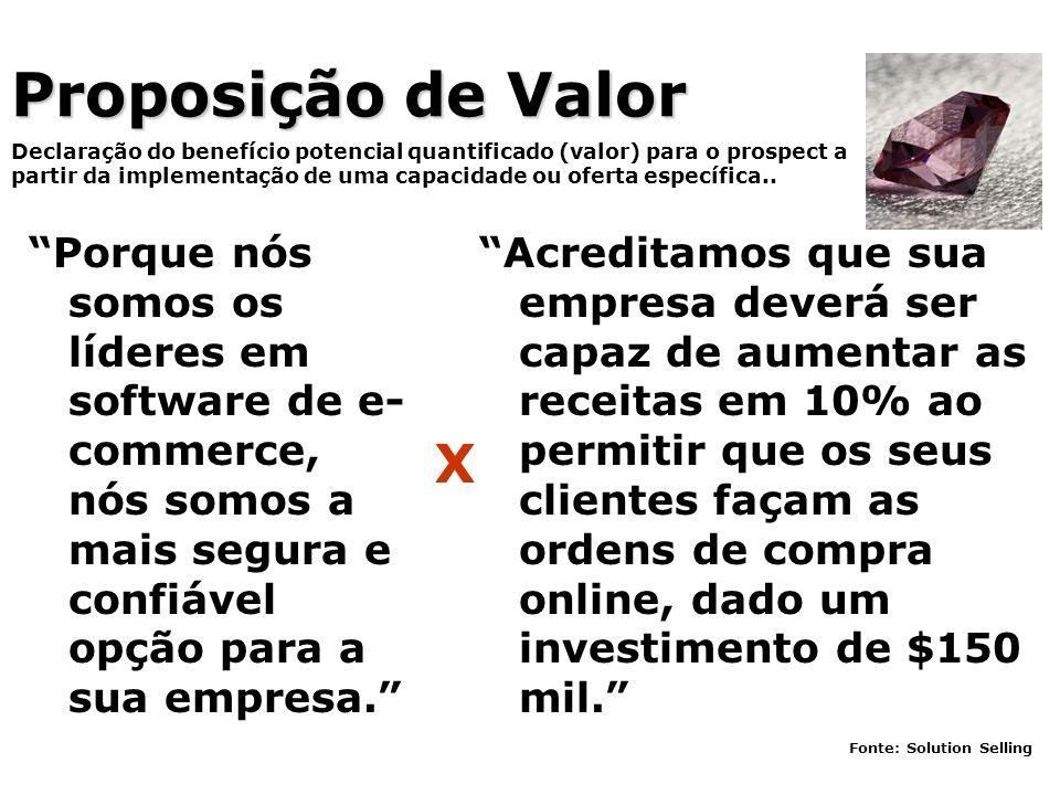 Proposição de Valor Porque nós somos os líderes em software de e- commerce, nós somos a mais segura e confiável opção para a sua empresa. Declaração d