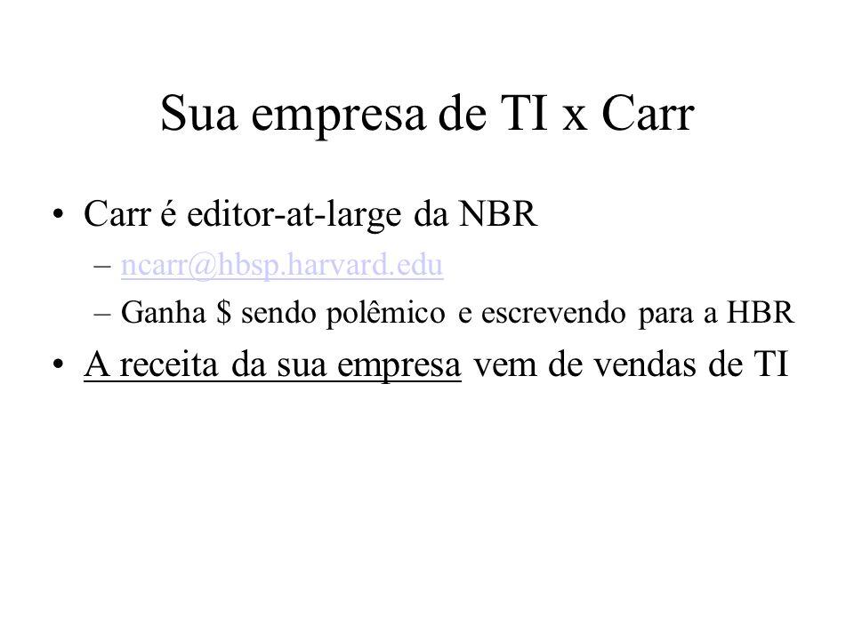 Sua empresa de TI x Carr Carr é editor-at-large da NBR –ncarr@hbsp.harvard.eduncarr@hbsp.harvard.edu –Ganha $ sendo polêmico e escrevendo para a HBR A