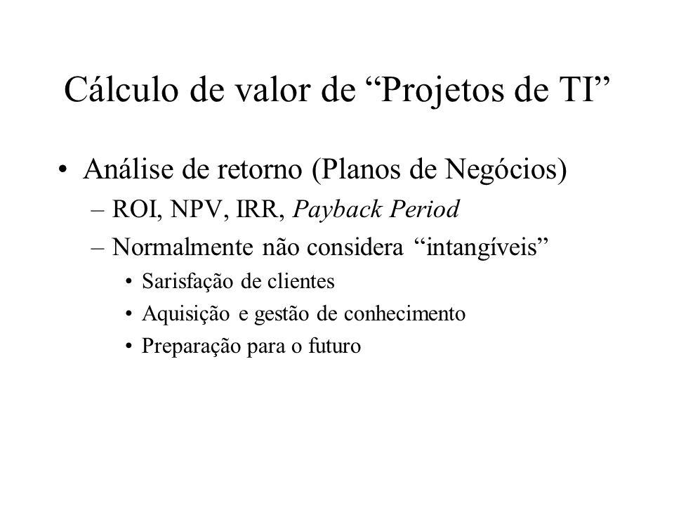 Cálculo de valor de Projetos de TI Análise de retorno (Planos de Negócios) –ROI, NPV, IRR, Payback Period –Normalmente não considera intangíveis Saris