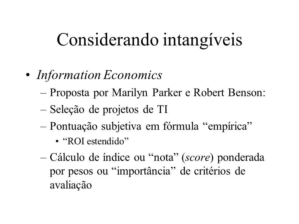 Considerando intangíveis Information Economics –Proposta por Marilyn Parker e Robert Benson: –Seleção de projetos de TI –Pontuação subjetiva em fórmul